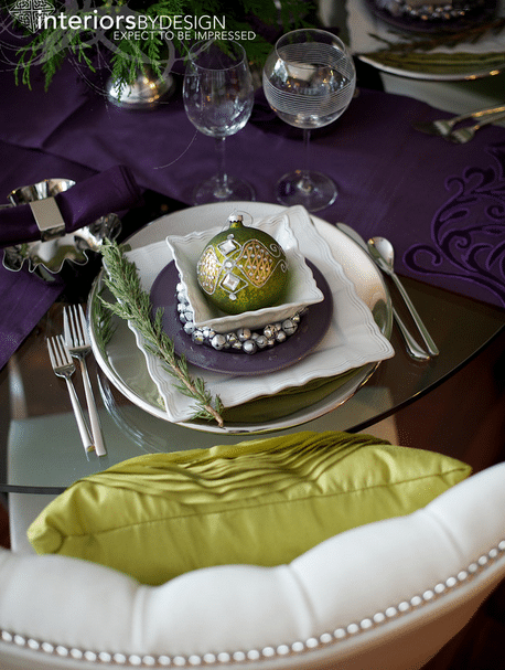 Plums and Chartreuse make a fabulous Festive place setting