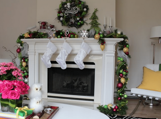 Decorated Christmas Mantle