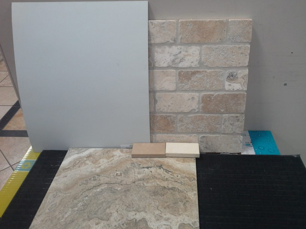 Porcelain Floor Tile; Backsplash; Conter top options and Paint Colour - BM Grey Cashmere 2138-60