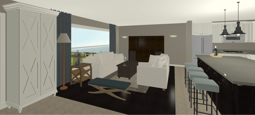Option#2 Rendering Living Room Closet against Wall