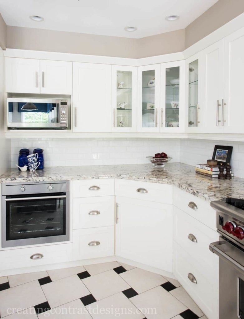 designer kitchen with white subway tile