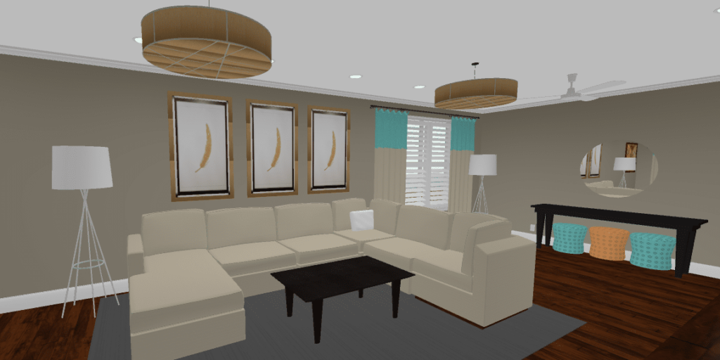 Rendering of my clients Living Room for space planning purposes.