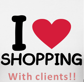 This is the image I usually post on facebook when I shop with a client for the day!