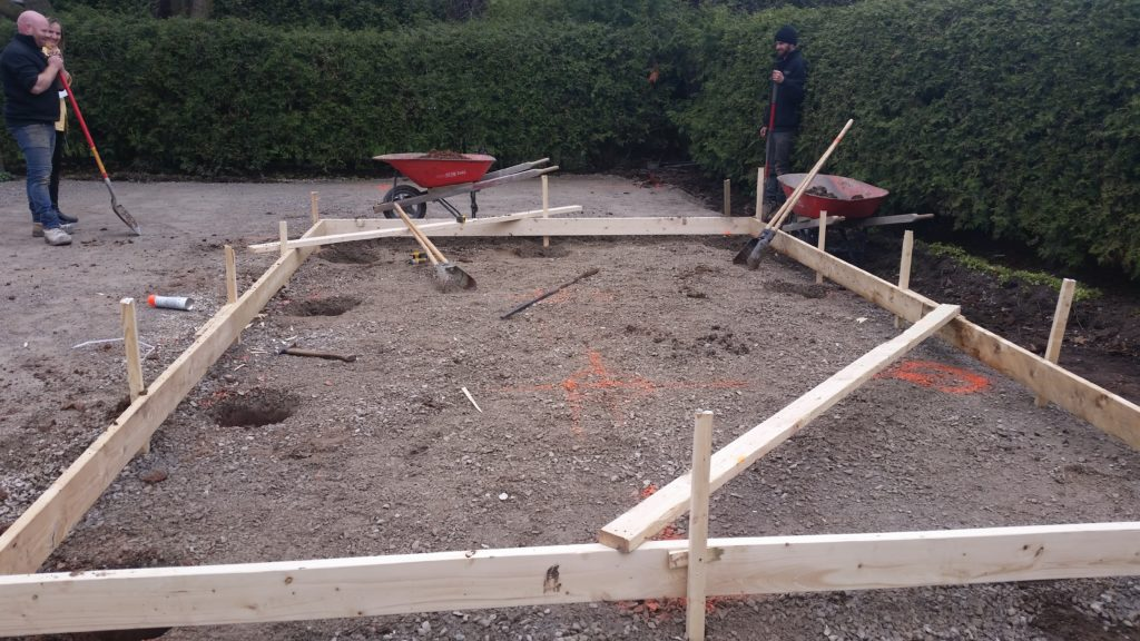 Framing out the base of the studio before pouring the concrete pad