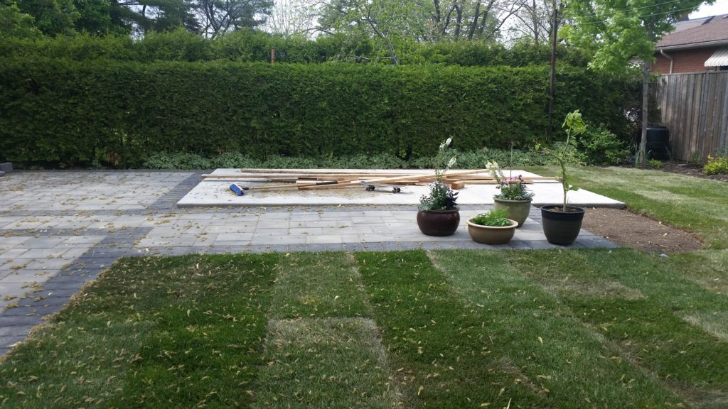 The patio stones are laid