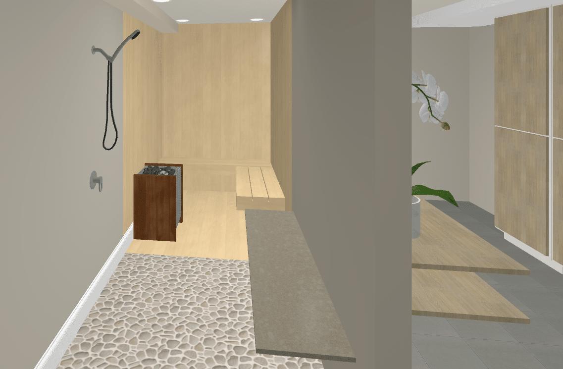 Glass Shower Walk Through With Sauna