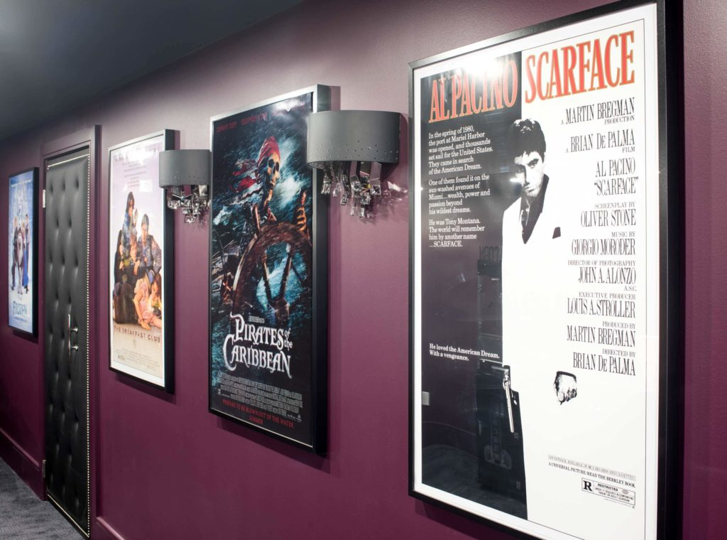 Movie Posters and Sconces for additional lighting