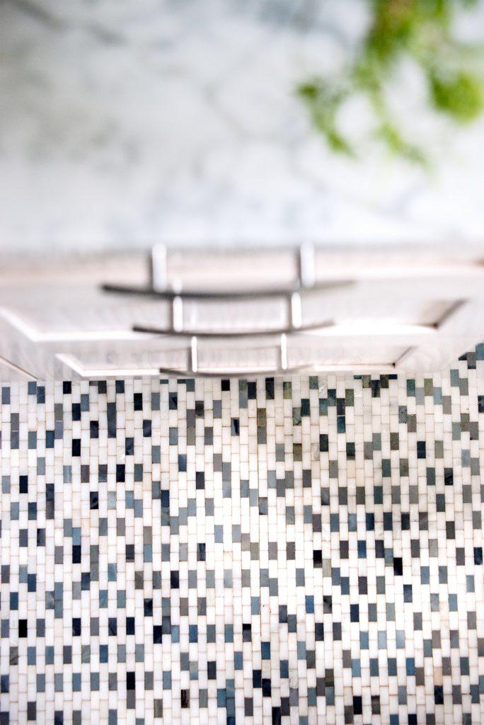 "In this bathroom design Hannah Dee of Hannah Dee Interiors uses colourful 1""x2"" subway tile on the floor"