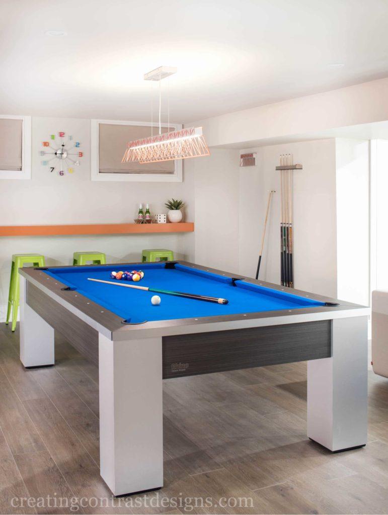 Chunky Pool Table with blue felt top