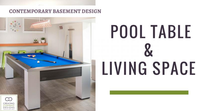 Basement Design Living Space & Pool Table