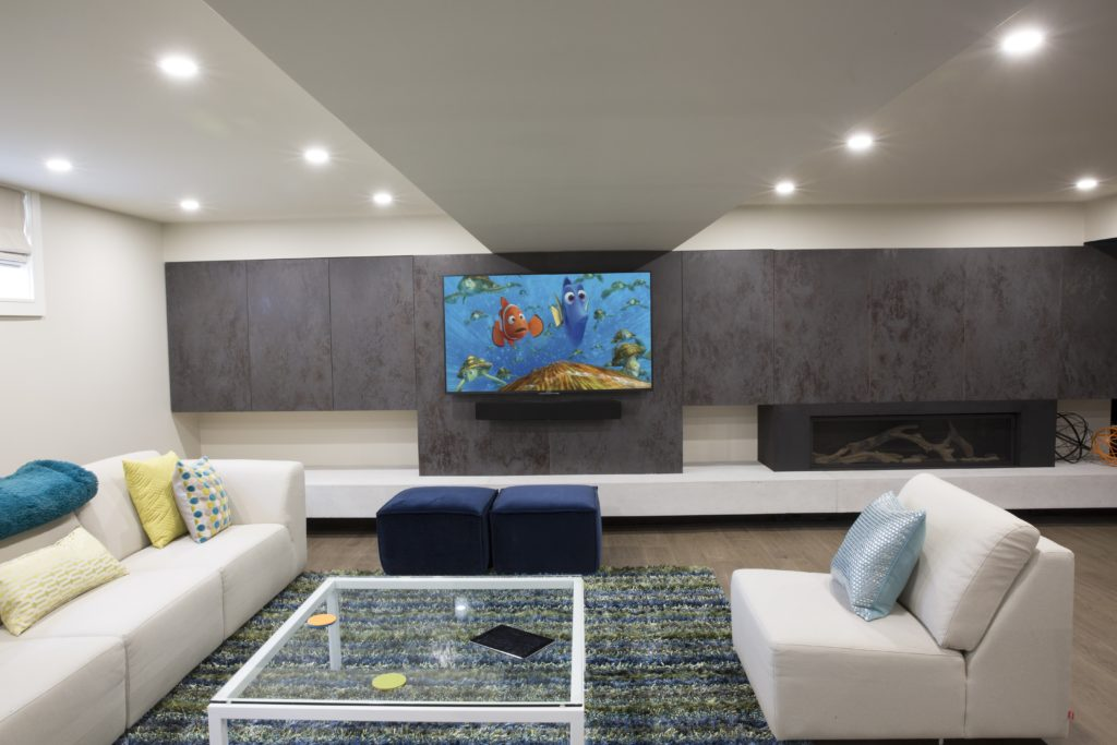 Media Wall with Hidden Storage, fireplace & concrete hearth