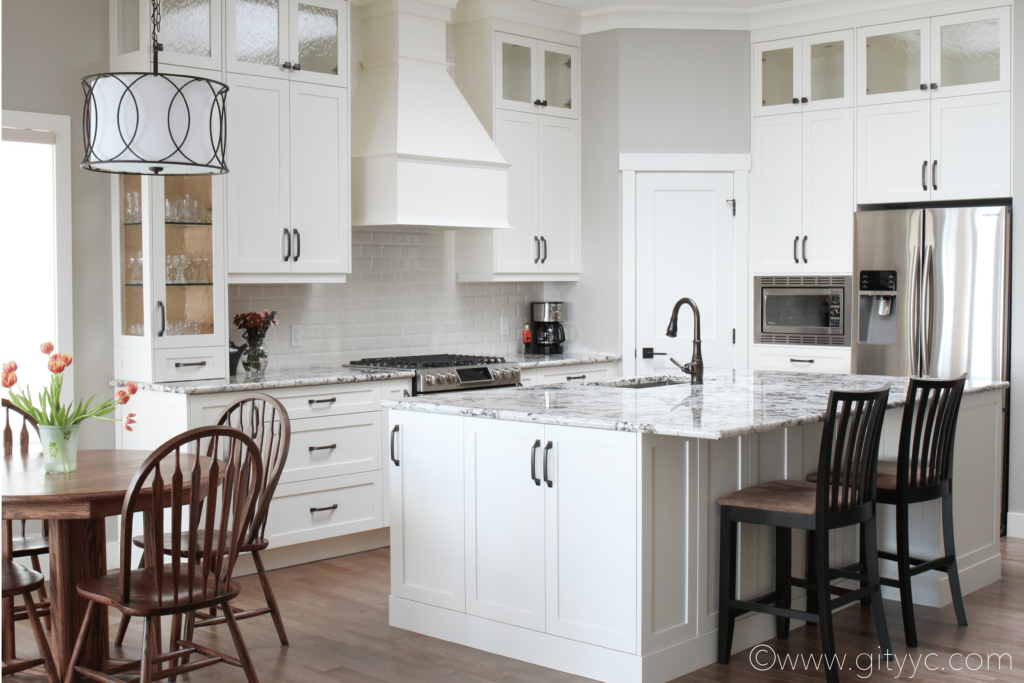 Sheri Brunea of Get It Together uses a Bevelled Subway Tile in this Fabulous Kitchen Design