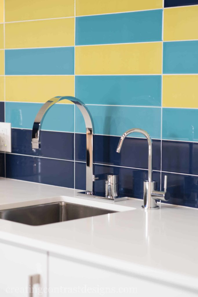 Stacked Subway tile pattern with white grout