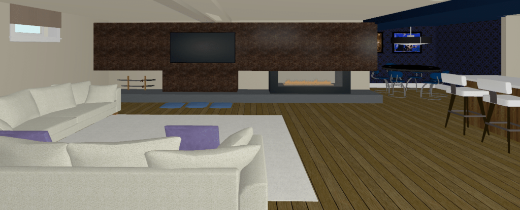 Rendering of Media Wall Unit with Fireplace