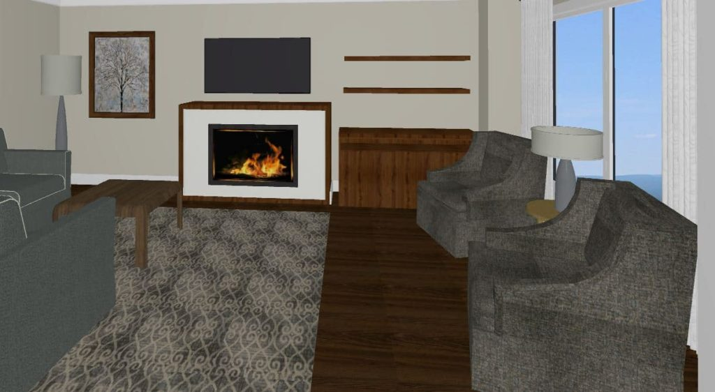 area rug by fireplace