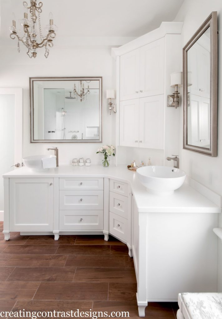 Cabinetry & Walls in Snowfall White by Benjamin Moore.