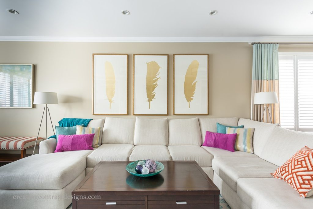 Large Gold Leaf Prints create a Stunning Focal Point