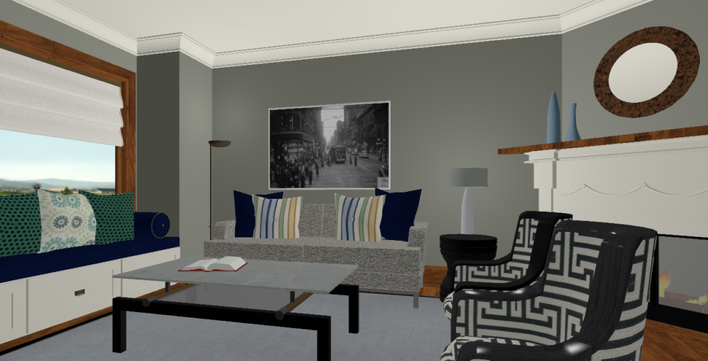 Renderings Of A Toronto Clients Living Room We Uploaded Sourced Fabrics Art Paint Colour