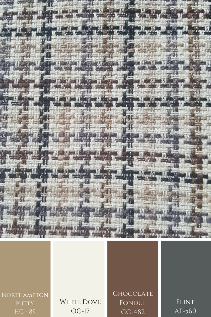 A simple stitched looking pattern here shows a more masculine colour combination in tones by Benjamin Moore.
