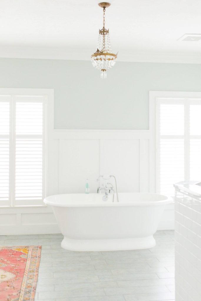 Sea Salt by Sherwin Williams is the perfect, tranquil colour for a 'spa like' bathroom. Design by Carolyn and Co.