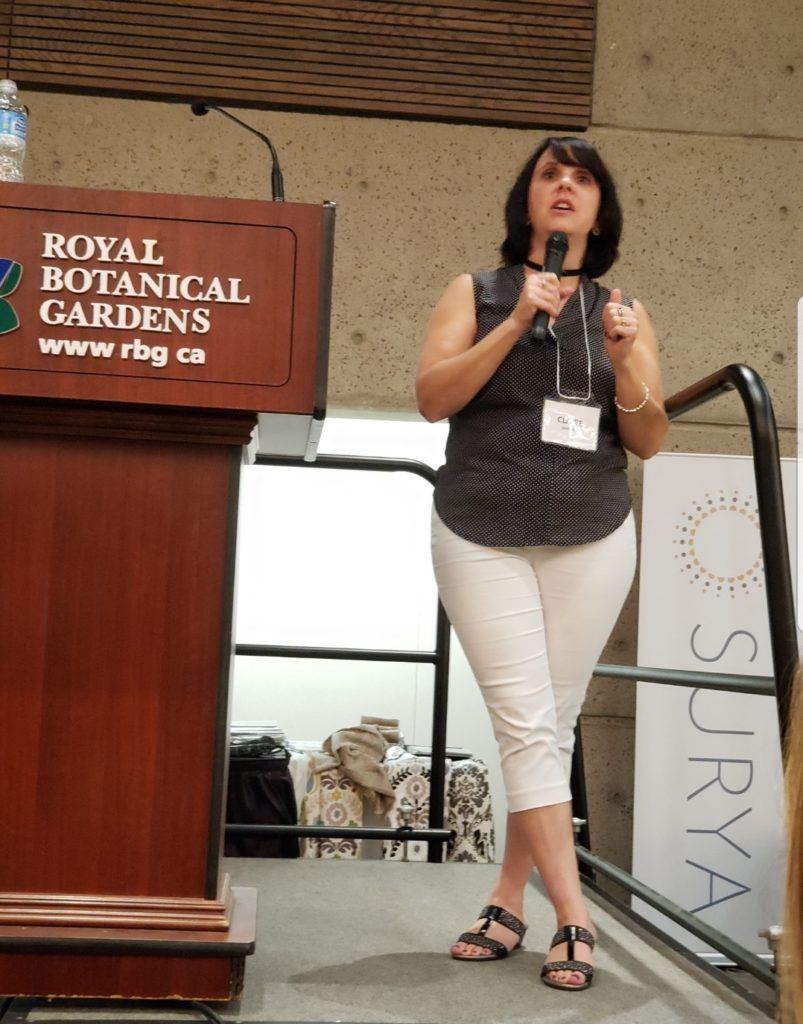 Claire Jefford speaking at the TDC local Trade Show, Burlington, Ontario