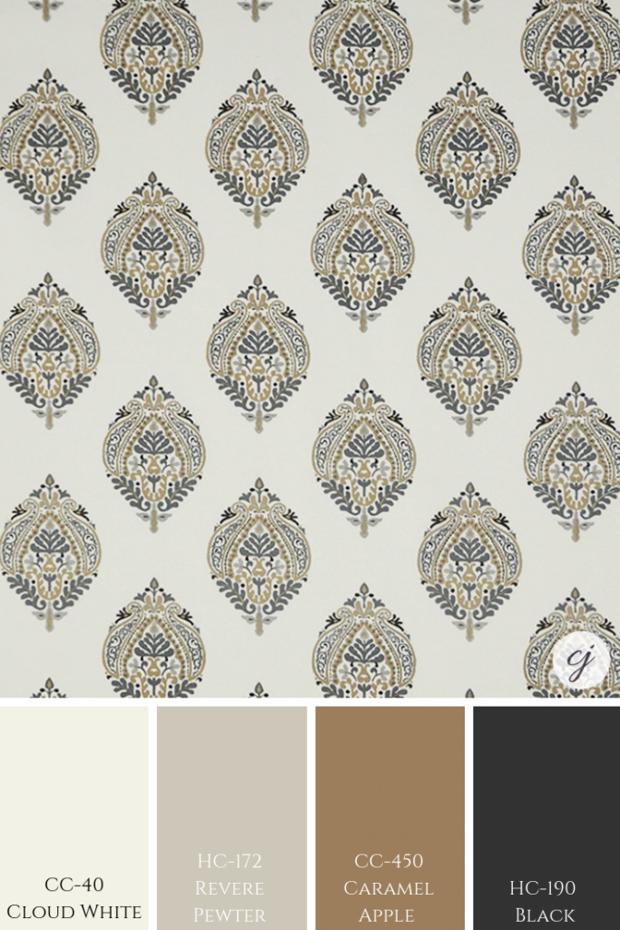 Revere Pewter by Benjamin Moore with custom fabric