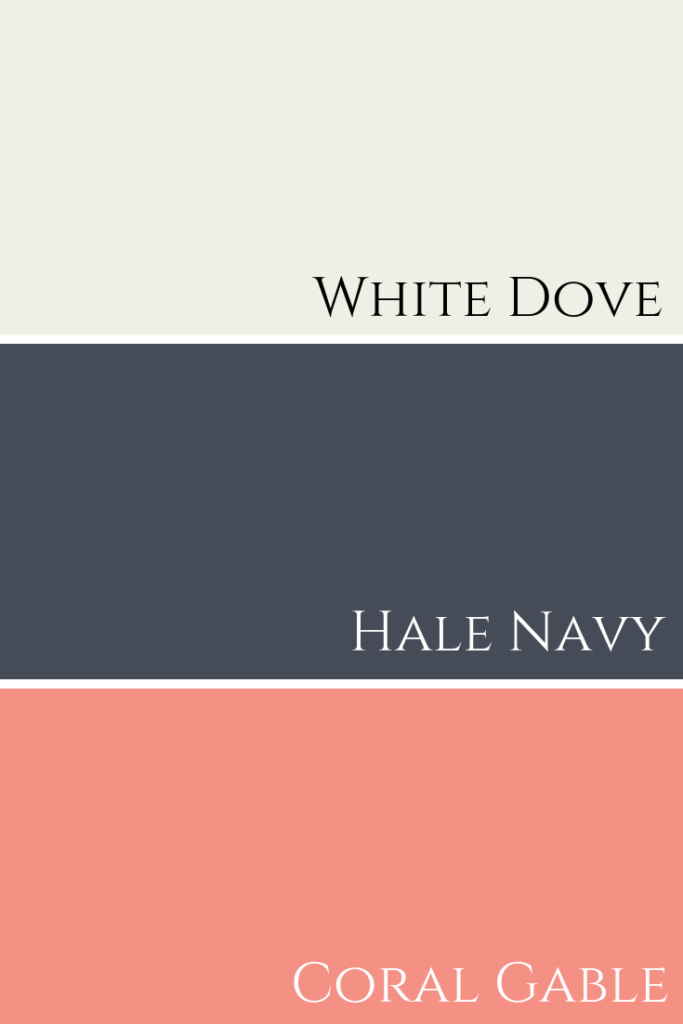 Paint colour combination Coral Gable & Hale Navy & White Dove