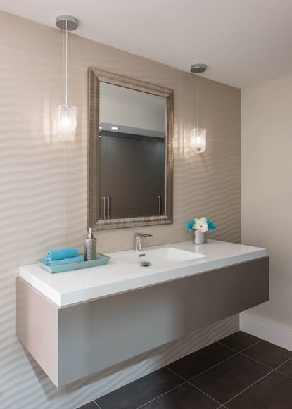 basement-bathroom-with-floating-vanity-in-benjamin-moore-barnboard-and-eden-tile-wall