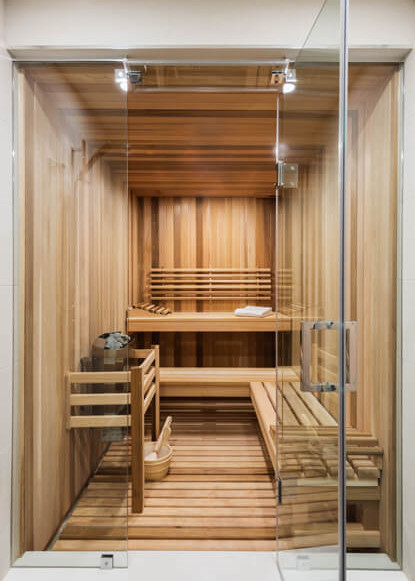 basement-custom-sauna-with-lighting-and-glass-wall