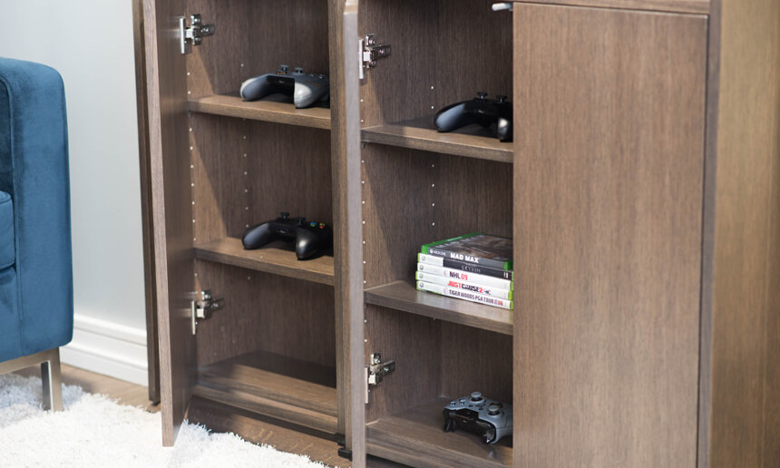 basement-custom-wooden-x-box-shelving-and-storage