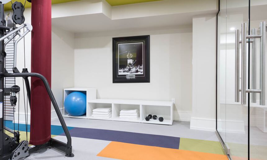 basment-gym-with-carpet-tile-flooring-and-gym-equiptment-and-storage
