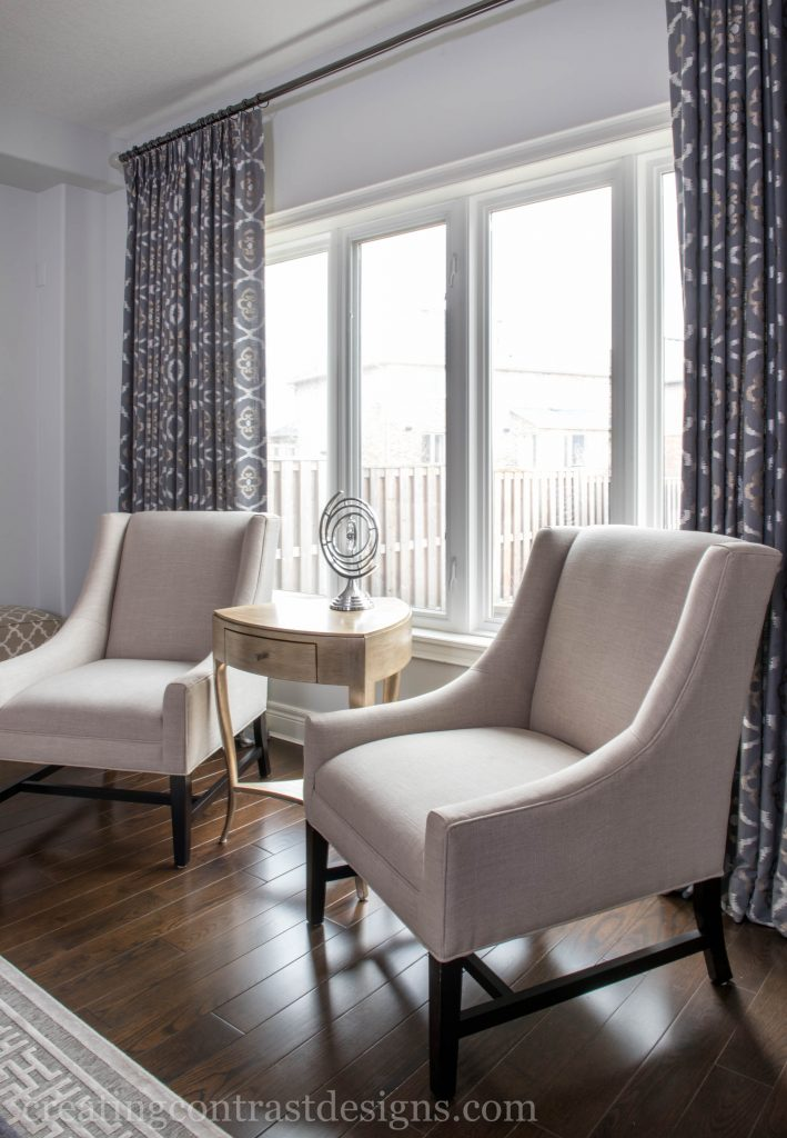 Our clients custom drapery looks fabulous with the backdrop of Wickham Gray.