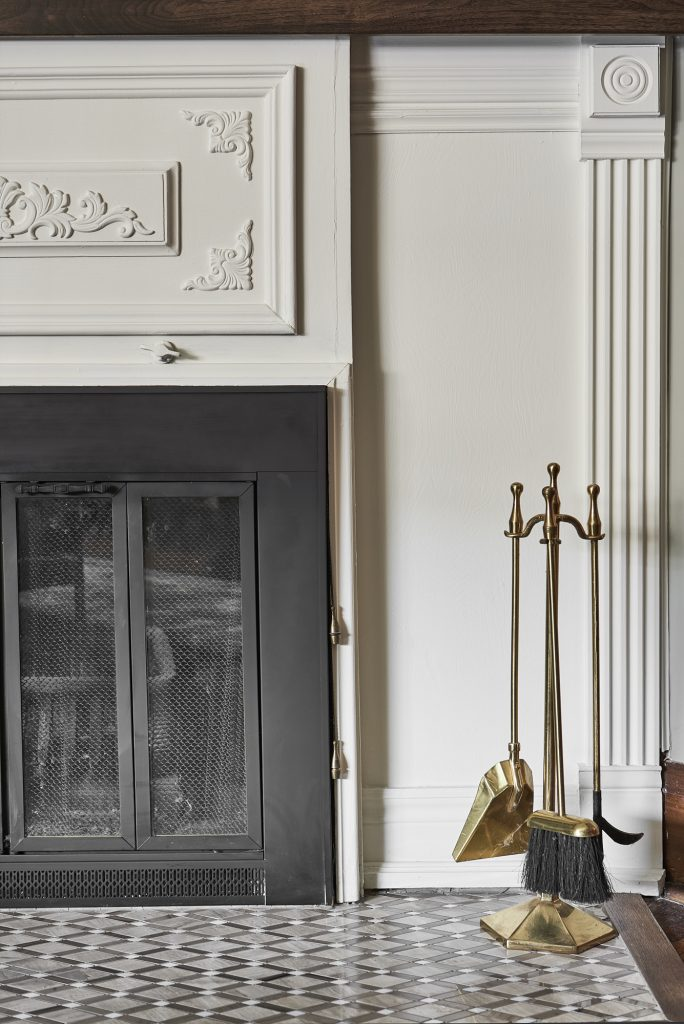 Fireplace painted White Dove by Benjamin Moore.