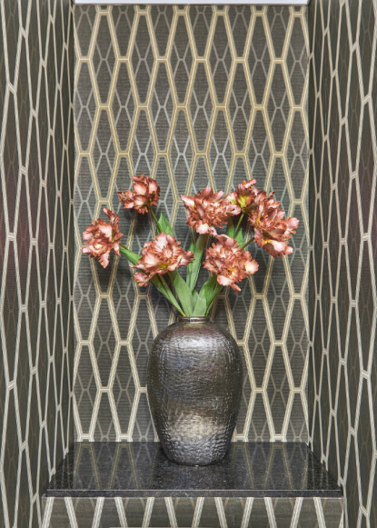 gorgeous-powder-room-with-geometric-patterned-wallpaper