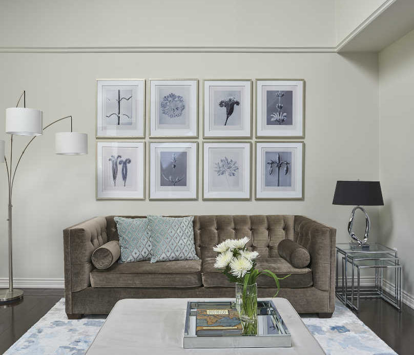 living-room-with-benjamin-moore-classic-gray-walls-and-velvet-sofa-trilamp-and-coffee-table