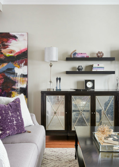 living-room-with-glass-cabinet-and-floating-shelves-benjamin-moore-shale-walls
