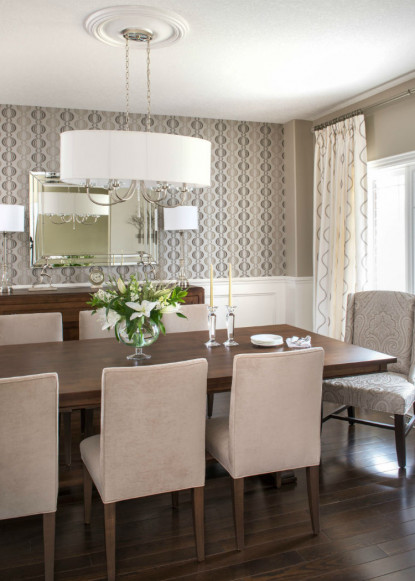 monochromatic-dining-room-with-duralee-fabrics-benjamin-moore-pashmina-and-oval-chandelier