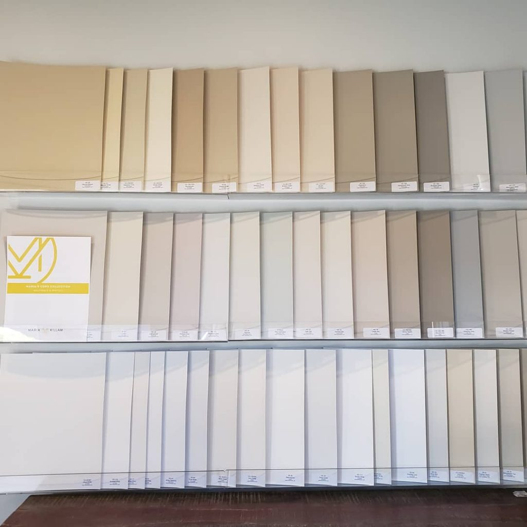 Painted colour boards Benjamin Moore Core Collection
