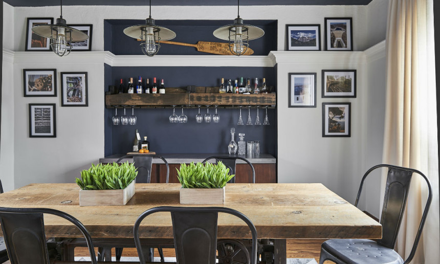 dining-room-industrial-lighting-and-benjamin-moore-hale-navy-painted-niche
