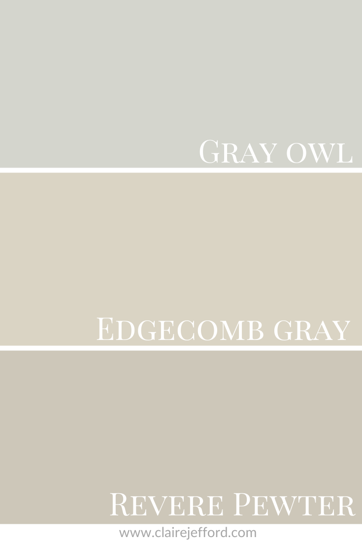 Gray Owl, Edgecomb Gray and Revere Pewter