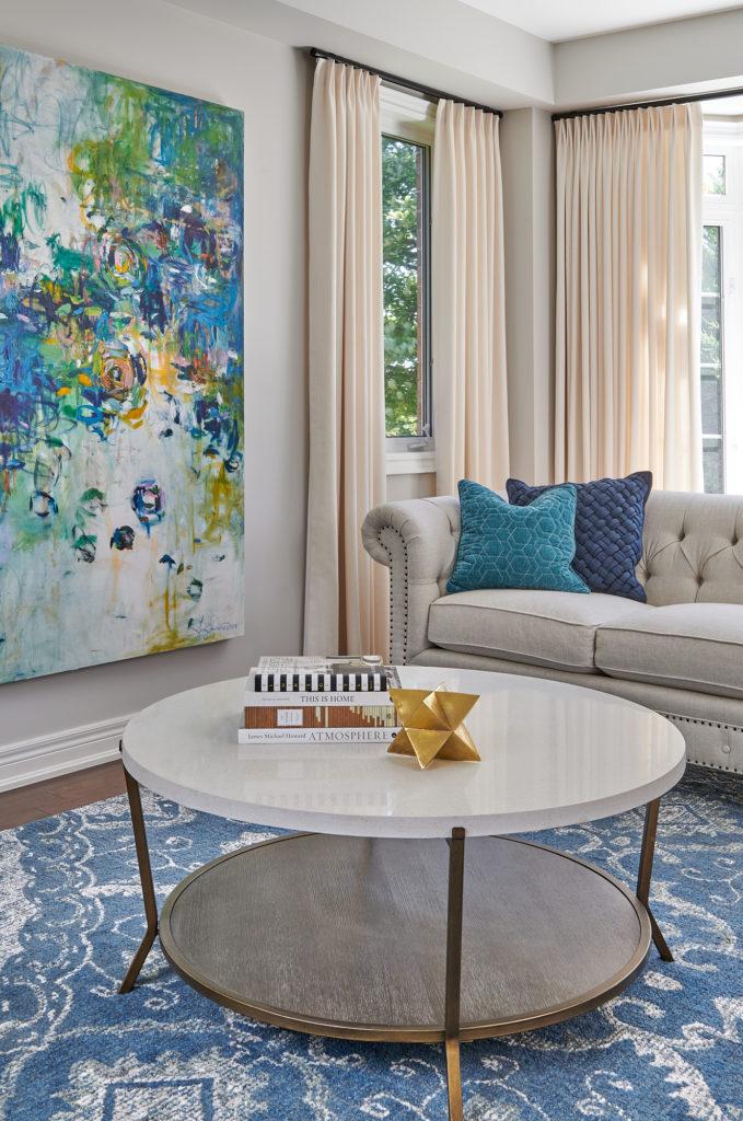 Living Room Custom Drapery Bold Artwork Balboa Mist Benjamin Moore