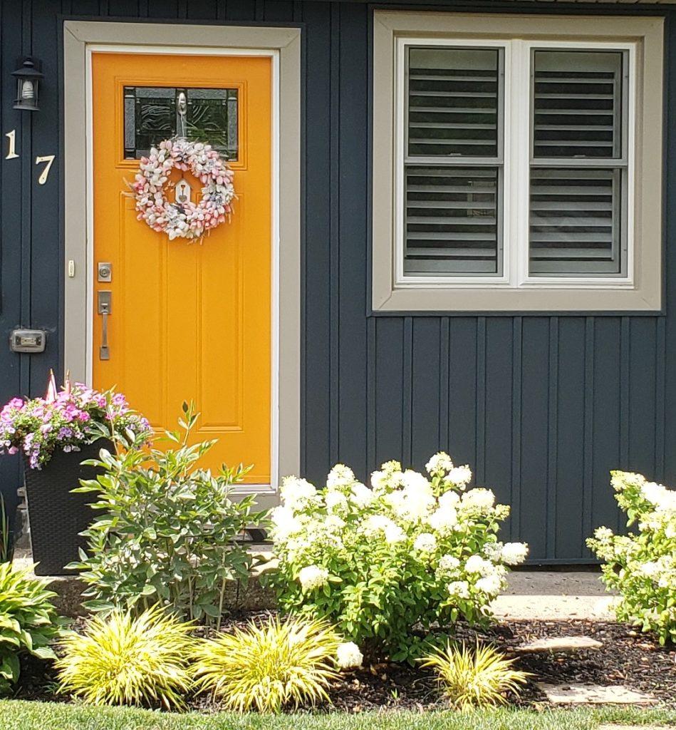Blue House Yellow Front Door Closer Golden Nugget And Gentlemans Gray