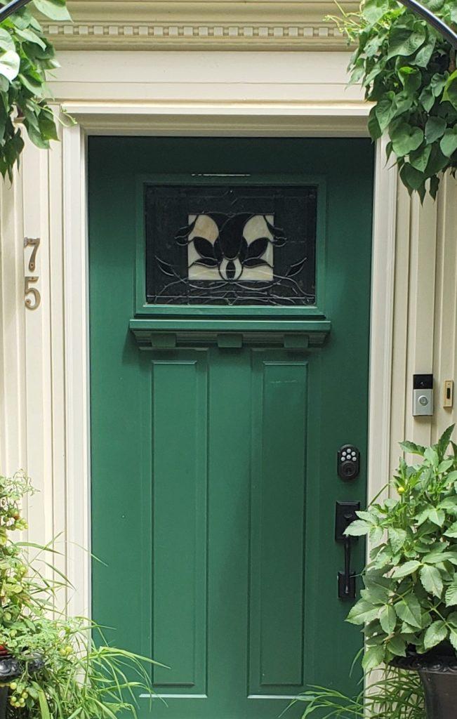 Closer Up Of Very Green Door Woodmont Cream Trim