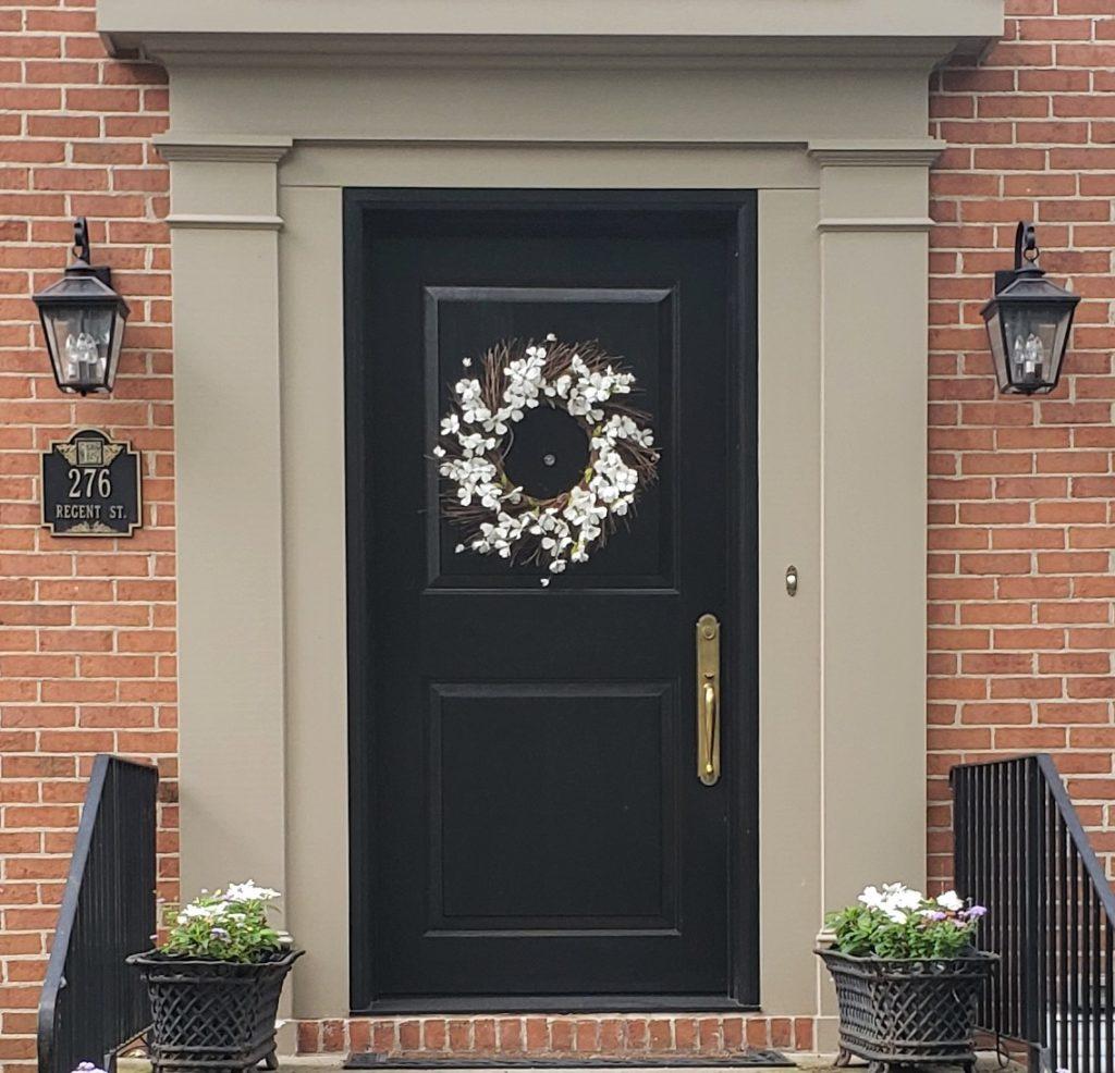 Jet Black Front Door Red Brick House Pashmina Trim 1