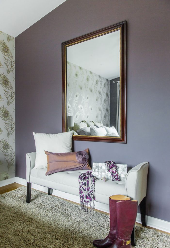 Masterbedroom With Korson Bench And Sherwin William Poetry Plum Paint And Purple And White Accent Pillows