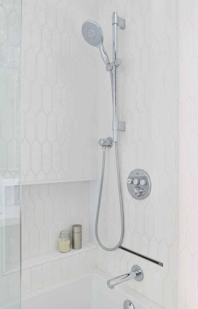 Chrome Rainfall Shower Niche White Tiles