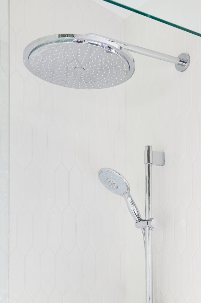 Rainfall Shower Head Chrome Finish Grohe White Bathroom