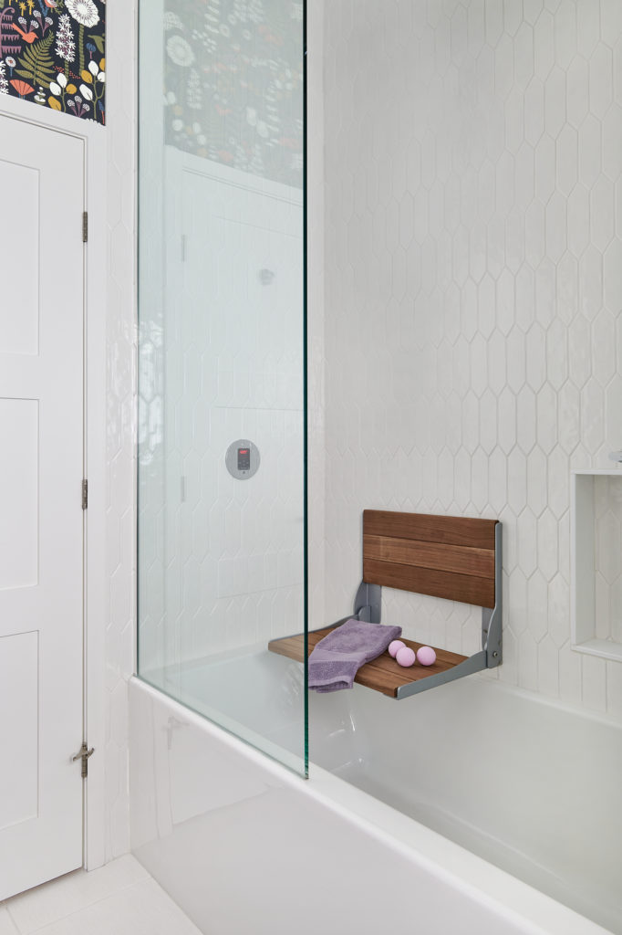 Steam Shower White Tiles Picket Fence White Tub Small Bathroom