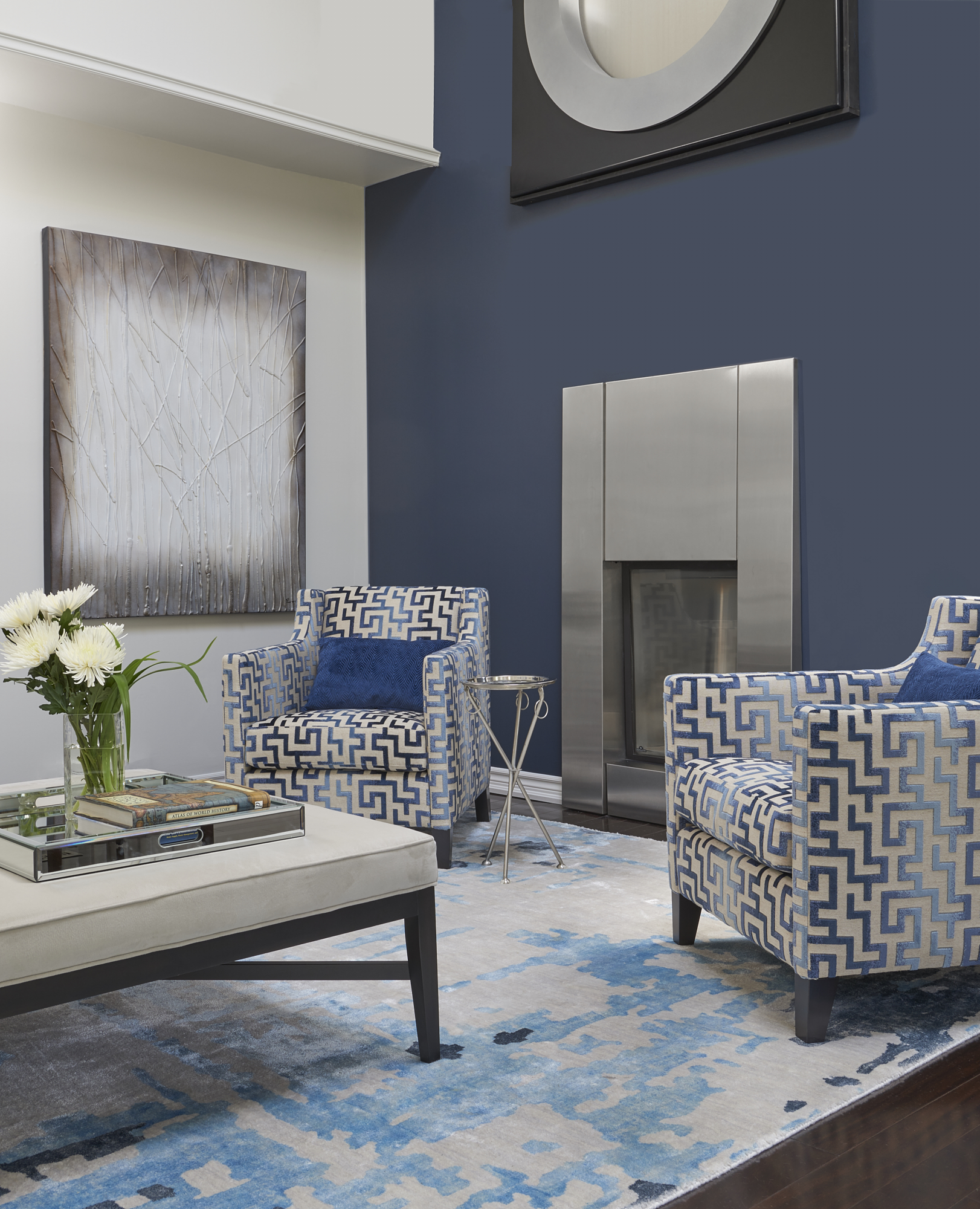 Benjamin Moore Classic Gray walls and Hale Navy feature wall