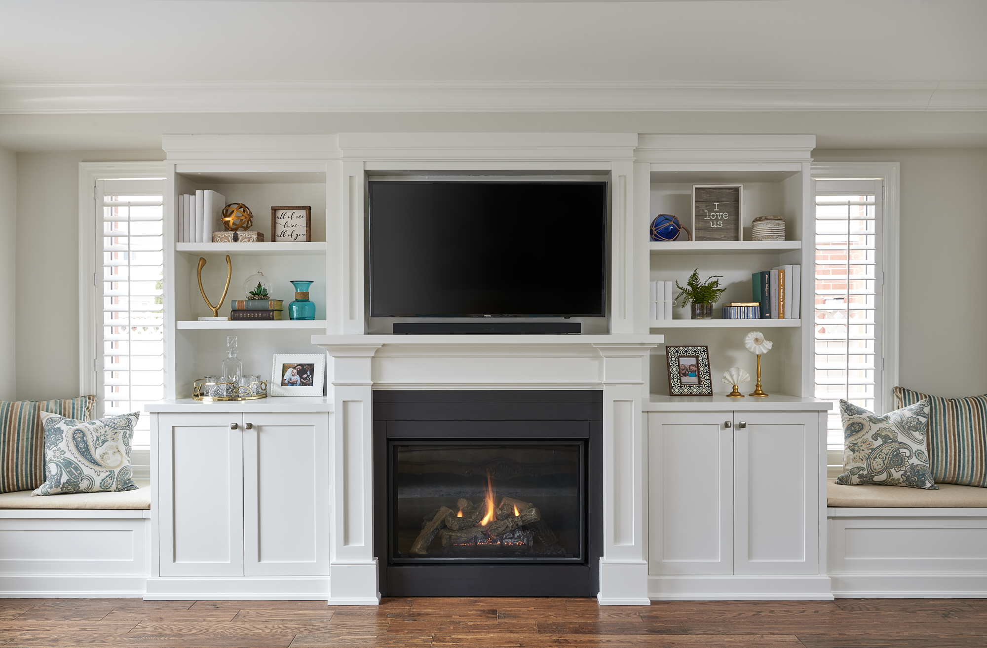 Oxford White Built-Ins with Fireplace, Classic Gray walls. Benjamin Moore